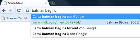 barra degli indirizzi di Chrome