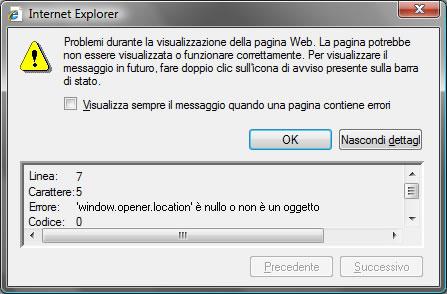 errore javascript nel browser